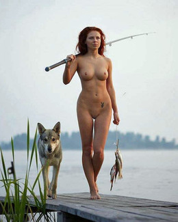 Nude busty babes catch a big fish on..